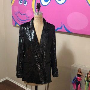 0f77de3d1d1 H&M Black Sparkle Tuxedo Smoking Jacket Women's